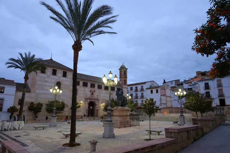 The lights come on in one of Antequera´s charming squares; Encarni Novillo