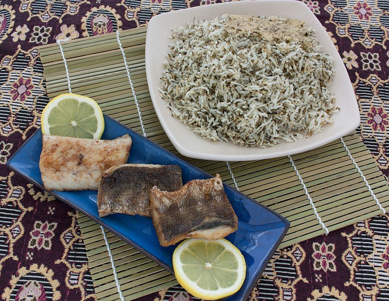 Herb pilaf and whitefish is traditional on Nowruz   © مانفی / Wikimedia Commons