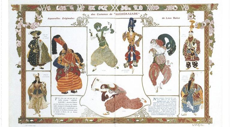Scheherazade costumes list by Léon Bakst (1910) │© Léon Bakst / Wikimedia Commons