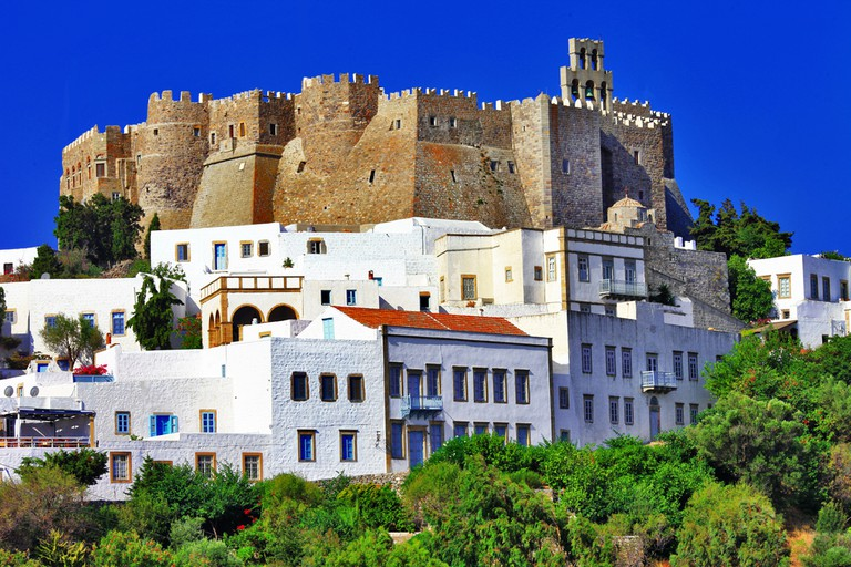 View of Monastery of St. John in Patmos, Greece