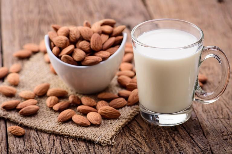 Almonds and milk   Shutterstock