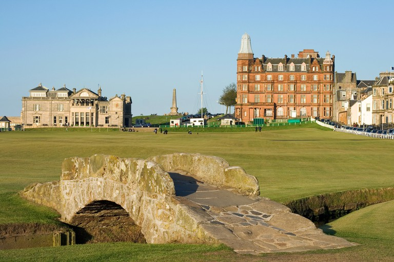 The famous Swilcan bridge on the 18th hole of the Old Course links in St Andrews, Scotland