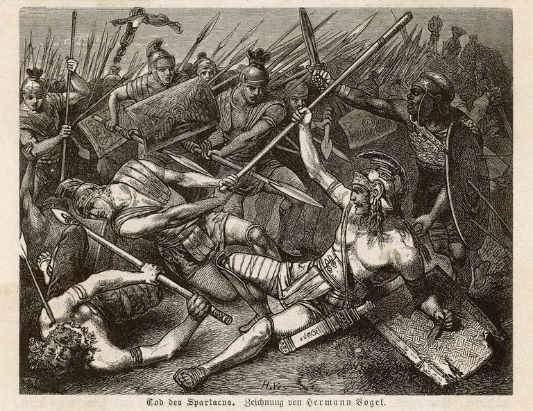 Spartacus' death by Hermann Vogel   © allposters.com/WikiCommons
