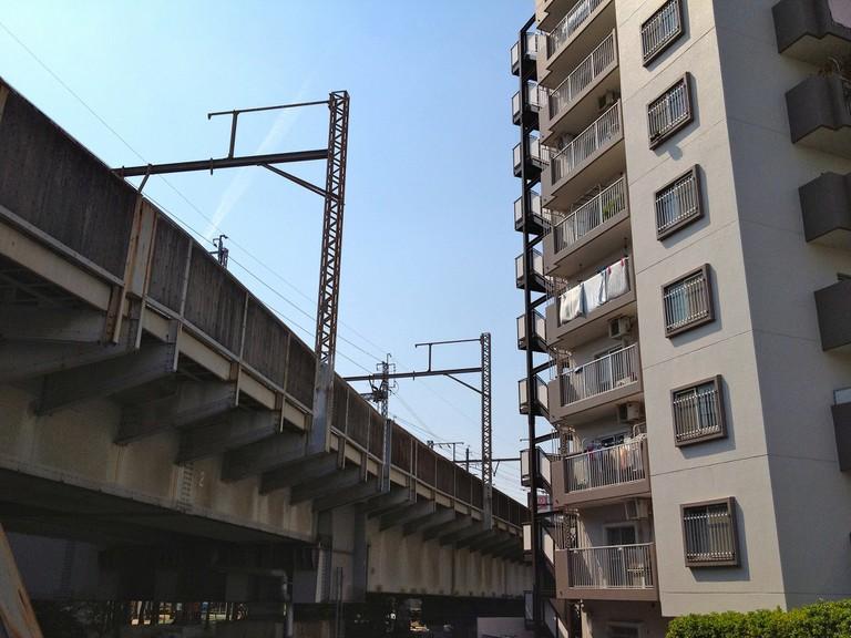 Apartments & rail bridge