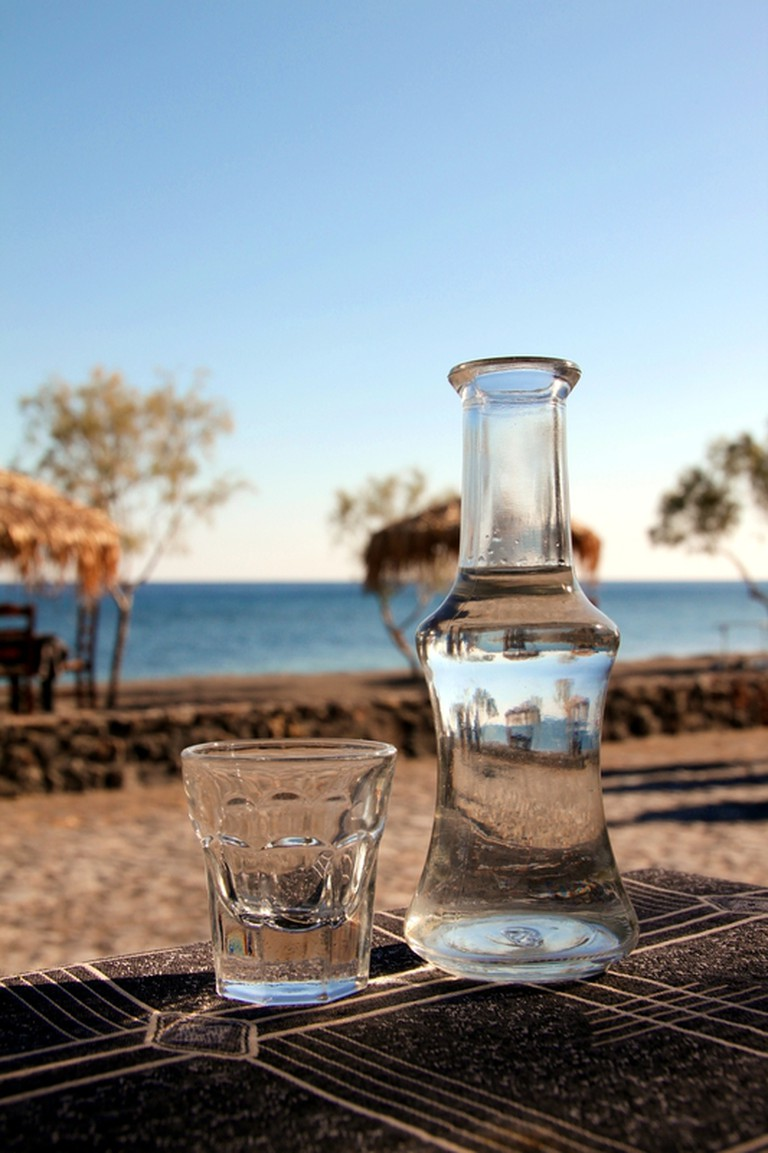 Tsipouro, the local drink of Volos, Greece