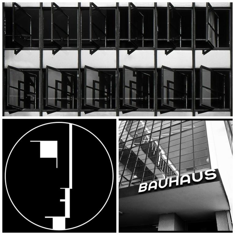 Dessau: Bauhaus Windows | © Harold Selke/Flickr / Bauhaus-Signet | © Lucano/WikiCommons / The Bauhaus Dessau | © Justin Kelly/Flickr