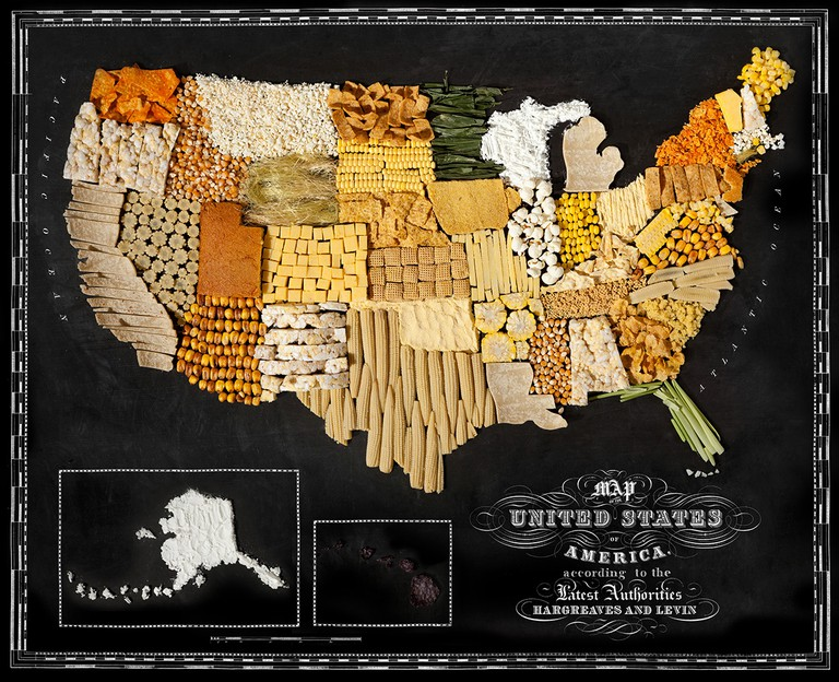 Different maize and corn products make up this map of the USA, 'USA' | © Henry Hargreaves and Caitlin Levin