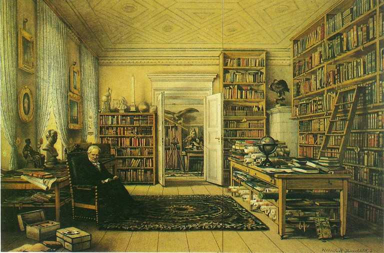 A painting of Humboldt in his study at his home, Oranienburger Str. 67 in Berlin   Wikimedia Commons