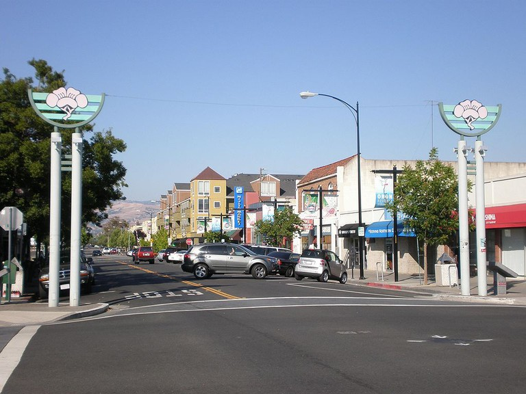 The intersection of Jackson and North Fifth Streets in Japantown, San Jose, California