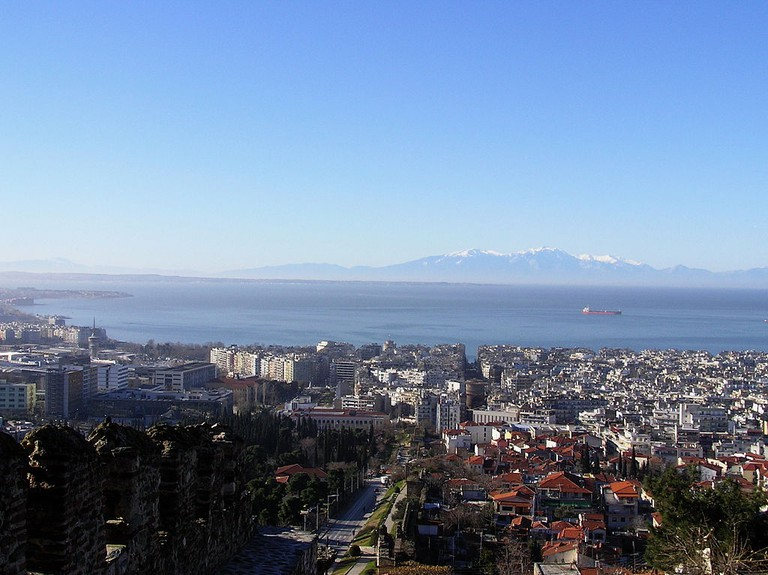 View of Thessaloniki and the Thermaic Gulf from Ano Poli in Greece