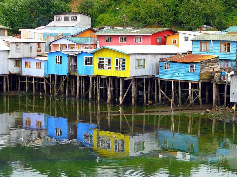 Colourful palafitos in Castro, Chile