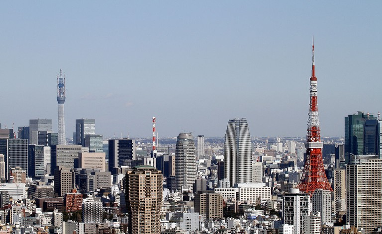 Tokyo Skytree, with Tokyo Tower in the foreground