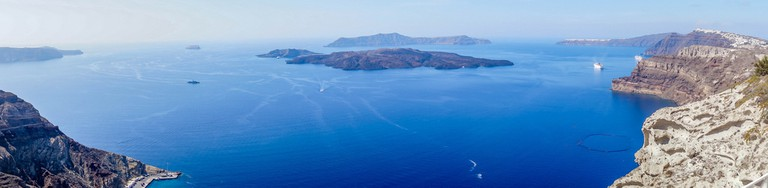 Panoramic View of the Caldera of Santorini