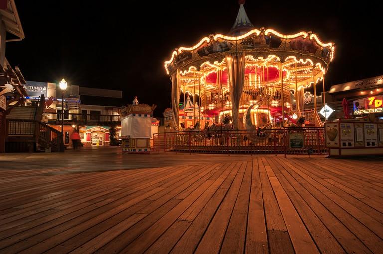 A carousel on a San Francisco pier