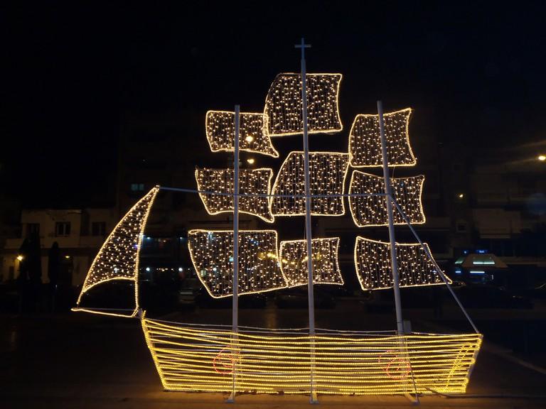 Christmas Light Boat in Alexandroupoli, Greece