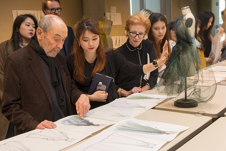 Mentor Albert Wolsky Looks at Student Sketches, Courtesy of Otis College of Art and Design