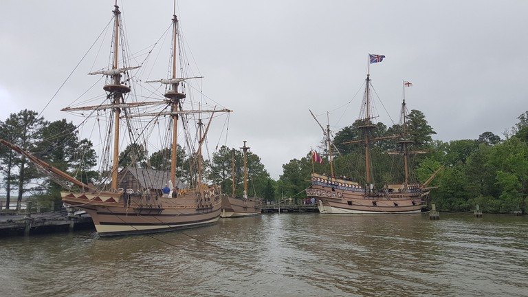 The boats Discovery, Godspeed and Susan Constant