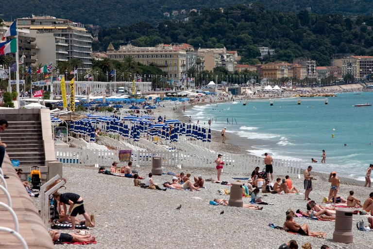 The Promenade des Anglais is made up of a selection of public and private beaches