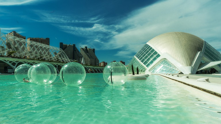 """<a href=""""https://www.flickr.com/photos/felana/34089255765/in/photolist-TWmm64"""">Waterballs at the city of Arts and Sciences, Valencia 