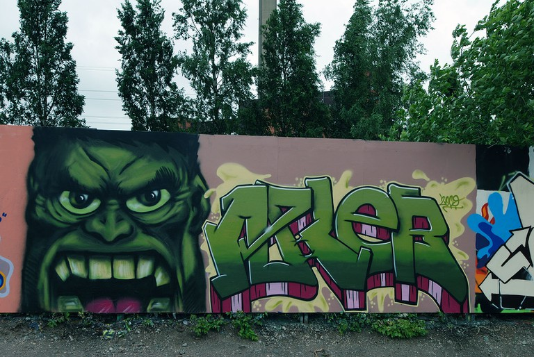 Part of the Suvilahti Graffiti Wall/ IK's World Trip/ Flickr