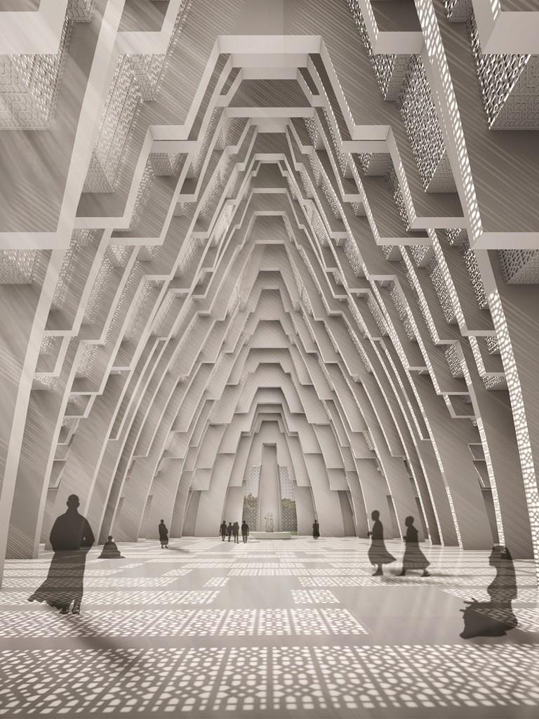 Interior prayer hall of IKSCON Temple