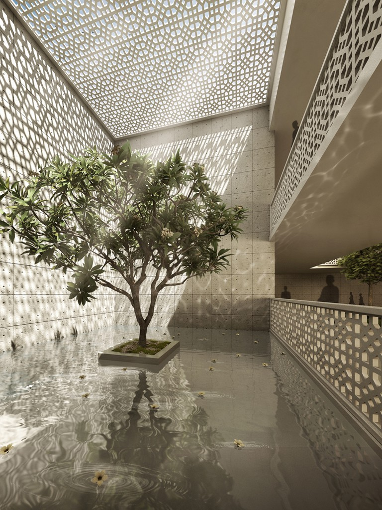 Internal courtyards of ISKCON Temple