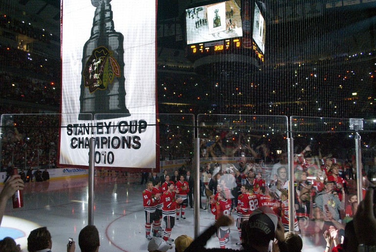 The Blackhawks celebrating the first of three Stanley Cups in six years | © Nicole Yeary/Flickr