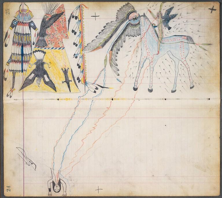Kiowa Vanquishing Navajo Artist A (Julian Scott Ledger) Ka'igwu (Kiowa), 1880. © Dirk Bakker
