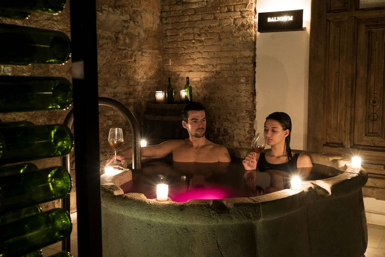Relax with a glass of your favourite drink Courtesy of Aire Ancient Baths