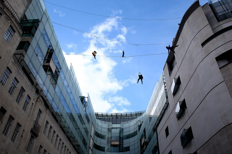 The Flying Frenchies rehearse at BBC Broadcasting House in London, England