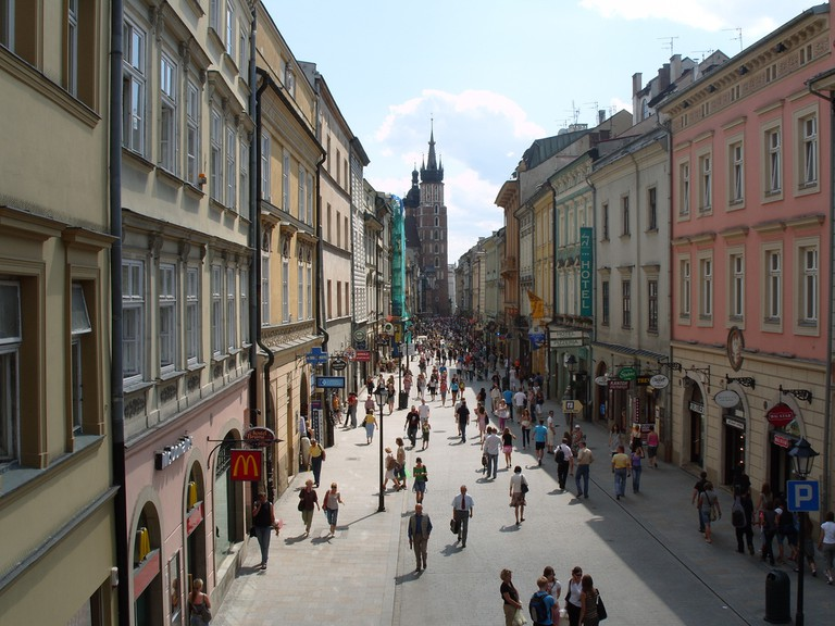 The View down Florianska from St. Florian's Gate