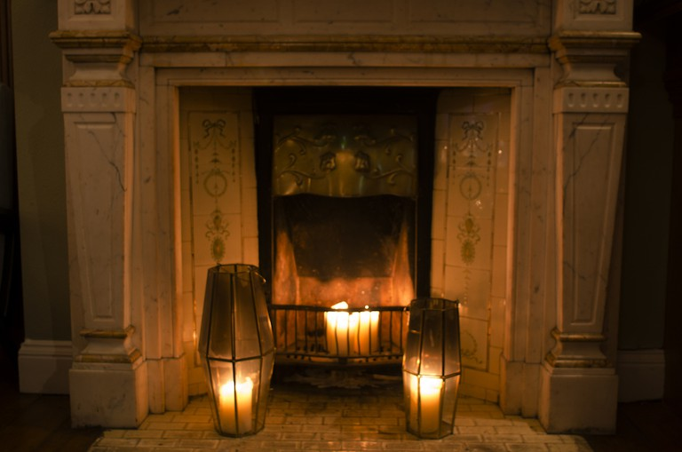 The fireplace at Delahunt | Courtesy of Delahunt
