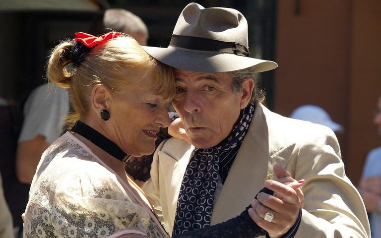Couple dancing tango in Argentina