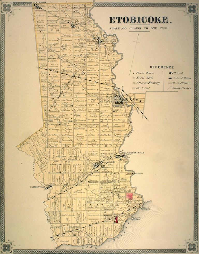 Survey map of Etobicoke, 1878