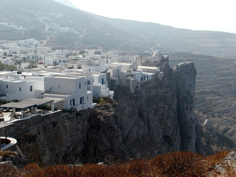View of cliff-top Chora, Folegandros