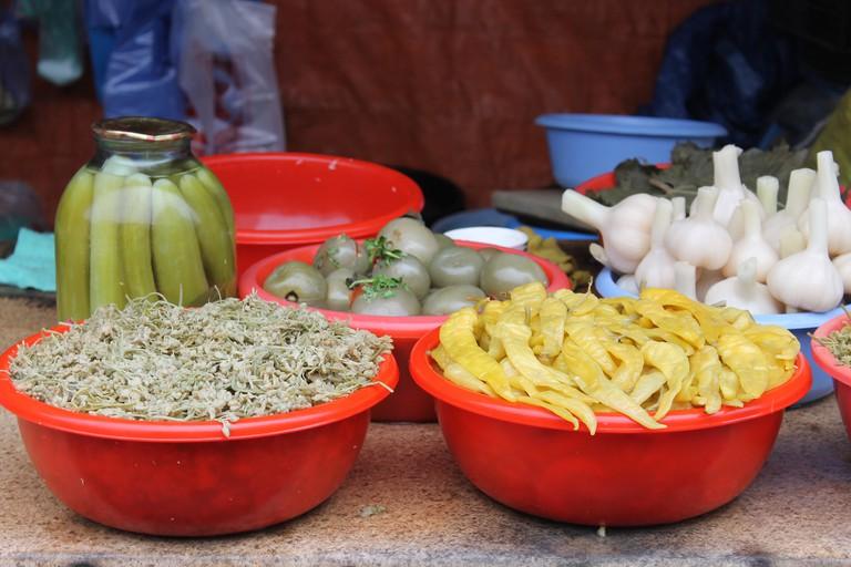 Georgian pickles at Tbilisi market