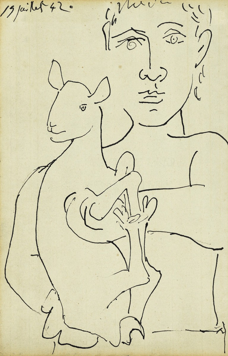 Étude pour L'Homme au Mouton Dated 19 juillet 42. (upper left)Pen and ink on paper 13⅛ by 8⅜ in.; 33.3 by 21.2 cm Executed in Paris on July 19, 1942. Estimate: $40/60,000