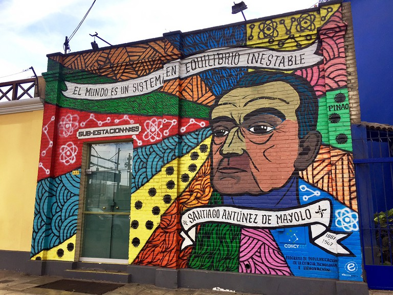 Mural of Santiago Antúnez de Mayolo by Carlos Pinao is the frontis for the Museum of Electricity. |©Manuel Orbegozo