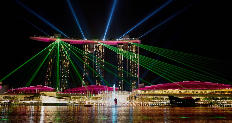 The laser show at the Marina Bay Sands, Singapore.