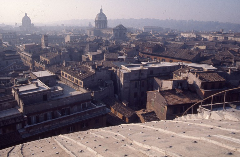 A view of Rome from the Pantheon's roof, looking southwest toward Sant'Andrea della Valle church, circa 1975 | © Frank Baker Holmes
