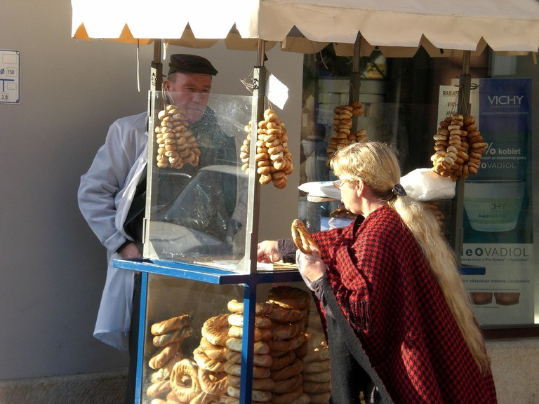 Guy selling pretzels in Cracow