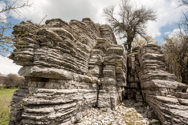 The stone forest in Zagoria, Epirus, Western Greece, on a cloudy day in the spring