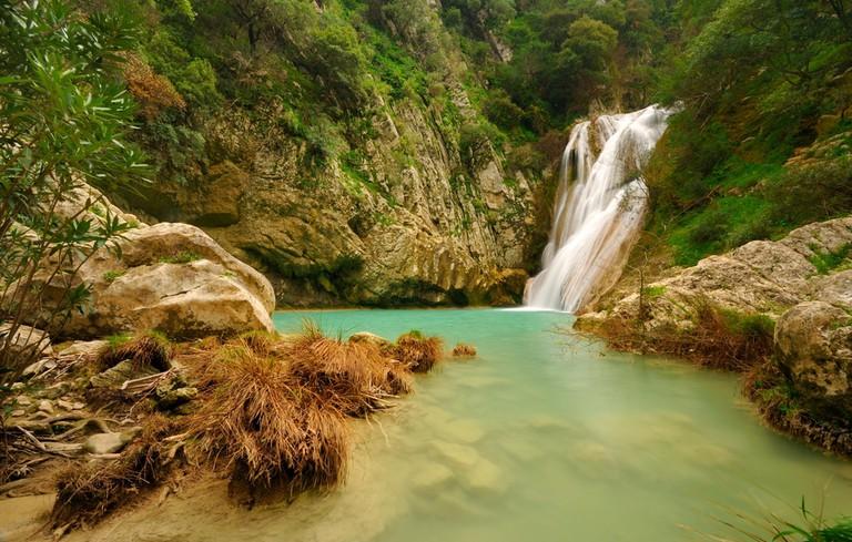 Small waterfall in Polilimnio, Greece