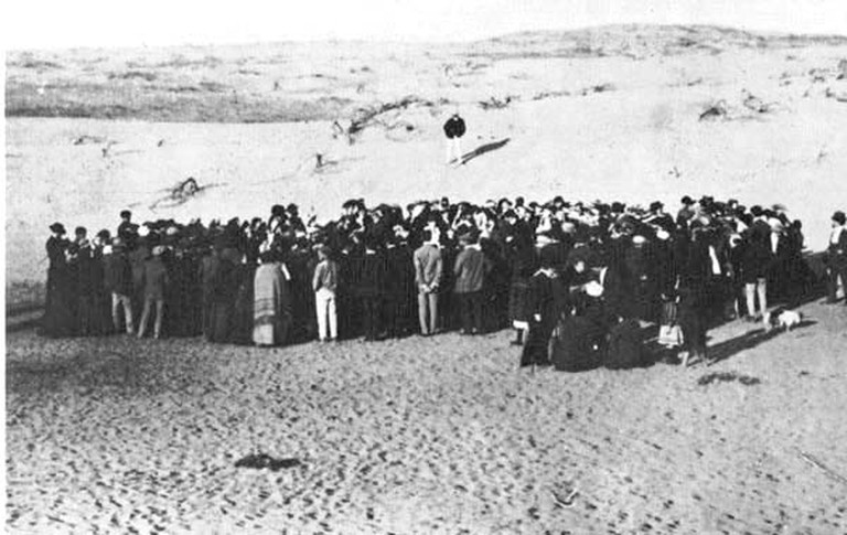 Tel Aviv's first families convene on the sand dunes north of Jaffa to found the city | Avraham Soskin (1881 - 1963), Wikipedia