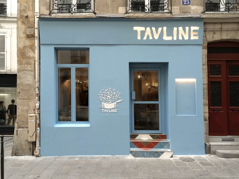 The blue facade of TAVLINE │ Courtesy of TAVLINE