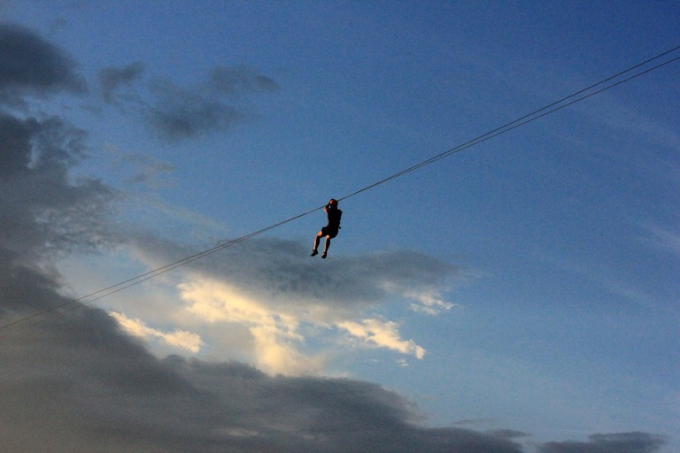 Ziplining and the sunset