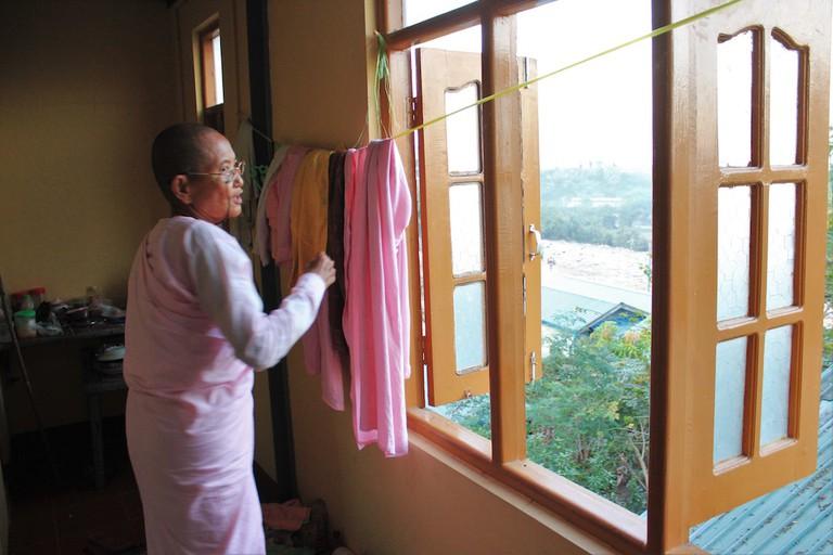 San Thi Dar's aunt in their Thabarwa apartment