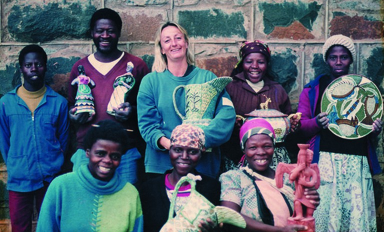 The Ardmore team (1992) included (back, from left) Nhlanhla Nsundwane, Phineas Mweli, Beatrice Nyembe and Paulina Hadebe, and (front, from left) Mavis Shabalala, Matrinah Nsundwane and Josephine Ghesa | Courtesy of Ardmore