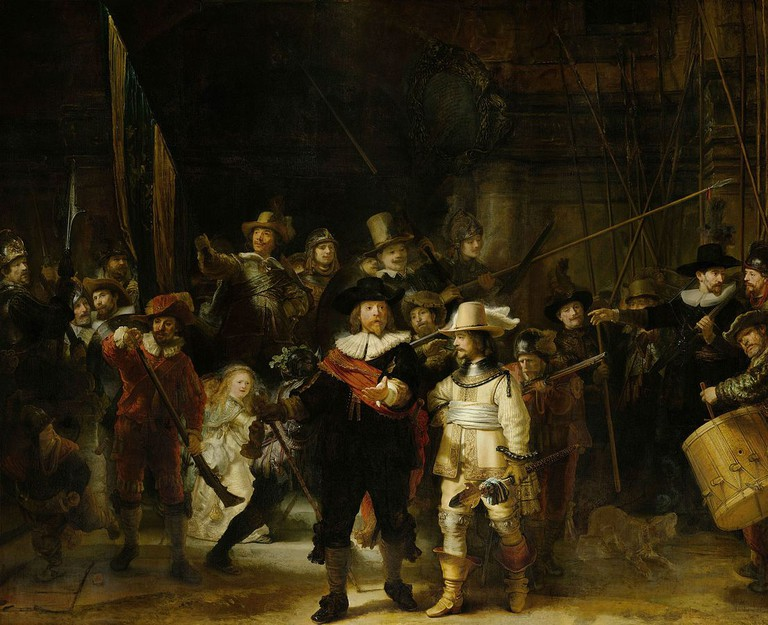 Rembrandt's masterpiece, the Nightwatch, is on permanent display at the Rijksmuseum in Amsterdam
