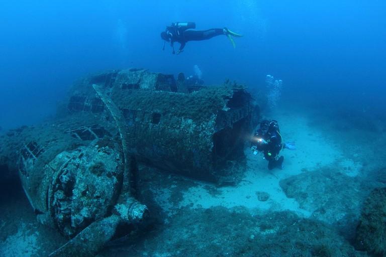 Scuba diving around wreckage